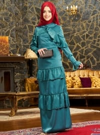Petrol - Fully Lined - Crew neck - Muslim Evening Dress