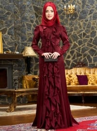 Esmeralda Abiye Elbise - Bordo - Mevra