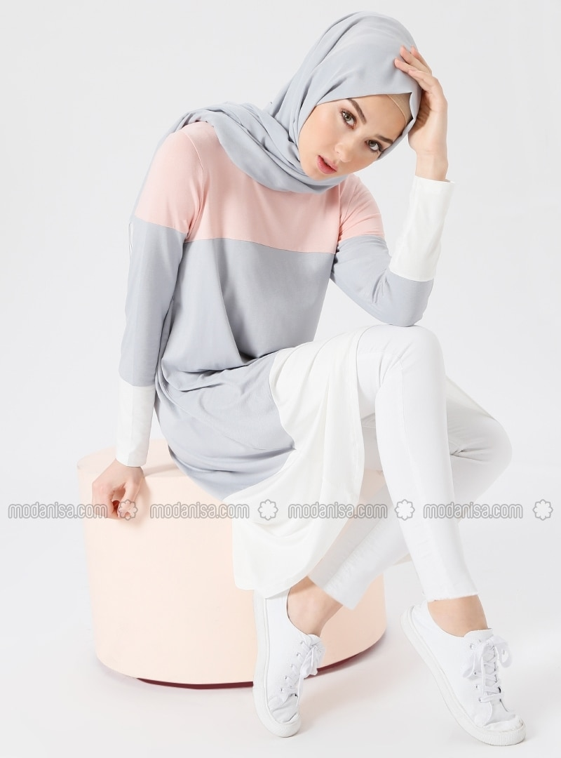 Pink - Gray - Crew neck - Viscose - Tunic