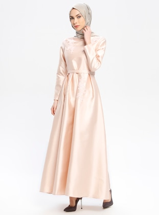 Powder - Crew neck - Fully Lined - Muslim Evening Dress