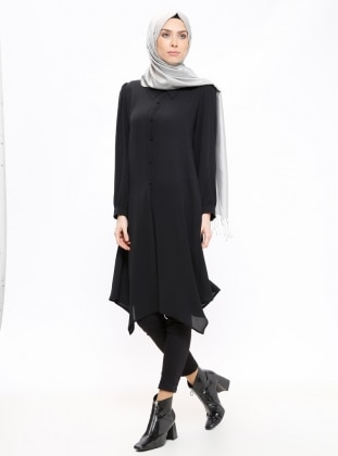 Black – Point Collar – Tunic – Zenane