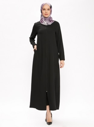 Black - Unlined - Crew neck - Abaya - ModaNaz 387023