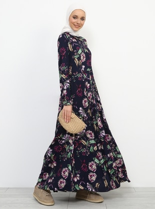 Navy Blue - Floral - Point Collar - Unlined - Dresses