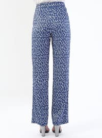 Navy Blue - Lamé - Floral - Pants