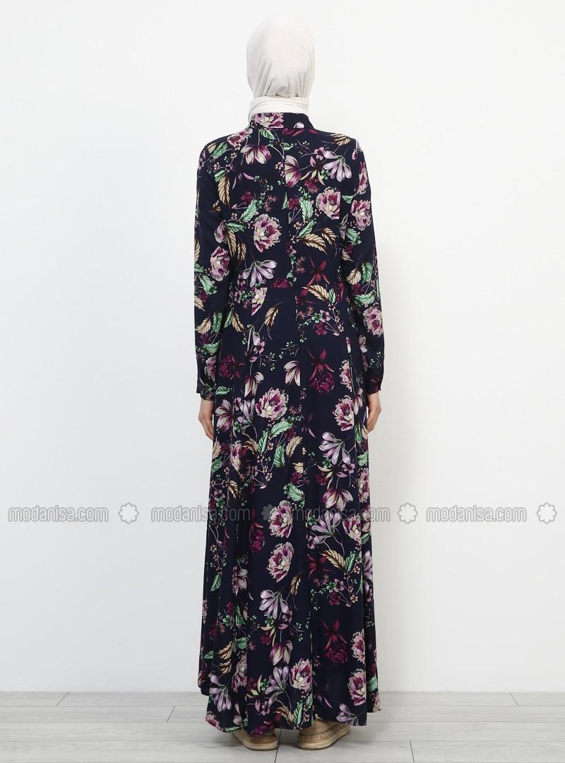 c9e31d16dc4fd Doğal Kumaştan Boydan Düğmeli Elbise - Lacivert