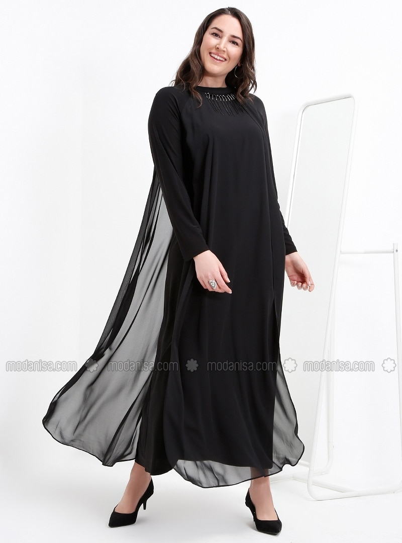 Unlined - Crew neck - Muslim Plus Size Evening Dress - Alia