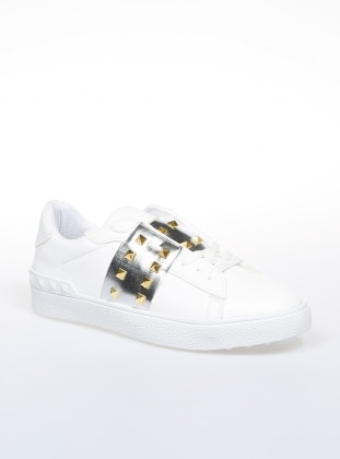 White - Silver tone - Sport - Casual - Shoes