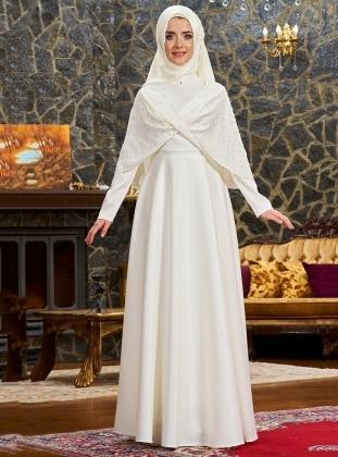 Ecru – Fully Lined – Crew Neck – Muslim Evening Dress – Mevra