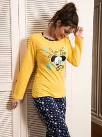 Pamuklu Pijama Takımı - Sarı - Siyah inci