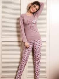 Pamuklu Pijama Takımı - Gül Kurusu - Siyah inci