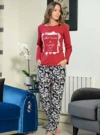 Pamuklu Pijama Takımı - Kırmızı - Siyah inci