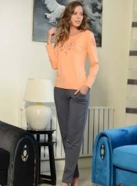 Pamuklu Pijama Takımı - Turuncu - Siyah inci