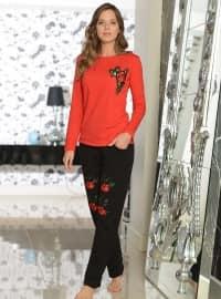 Pamuklu Pijama Takımı - Nar Çiçeği - Siyah inci