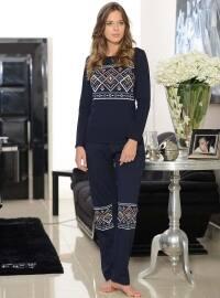 Pamuklu Pijama Takımı - Lacivert - Siyah inci