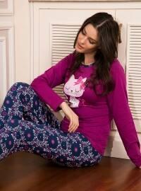 Pamuklu Pijama Takımı - Mor - Siyah inci