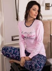 Pamuklu Pijama Takımı - Pembe - Siyah inci