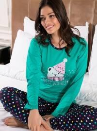 Pamuklu Pijama Takımı - Yeşil - Siyah inci