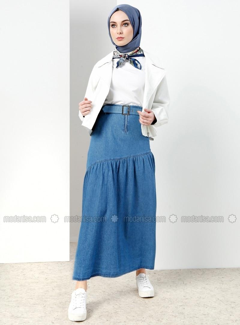e7384f2cd5 Blue - Unlined - Cotton - Denim - Skirt