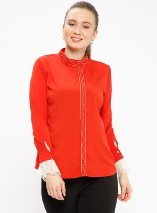 Red - Polo neck - Plus Size Blouse