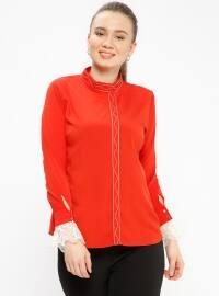 Dantel Detaylı Bluz - Kırmızı - Picolina