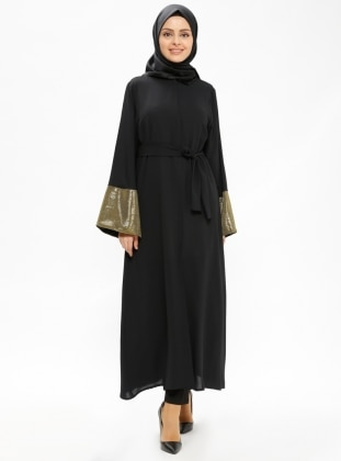 Black - Golden tone - Unlined - Abaya