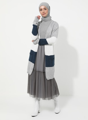 Gray - Stripe - Cardigan