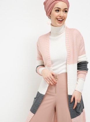 Pink - Stripe - Cardigan - Meliana