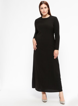 Black - Fully Lined - Crew neck - Plus Size Dress