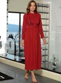 Pamuklu Elbise - Kırmızı - Siyah inci