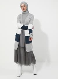 Gray - Stripe - Cardigan