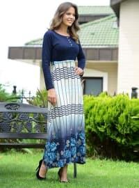 Pamuklu Elbise - Lacivert - Siyah inci