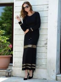 Pamuklu Elbise - Siyah - Siyah inci