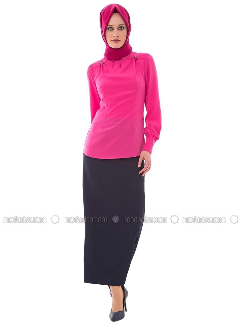 Pink - Round Collar - Blouses