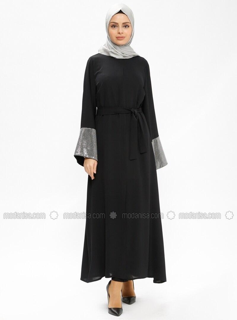 Black - Silver tone - Unlined - Abaya