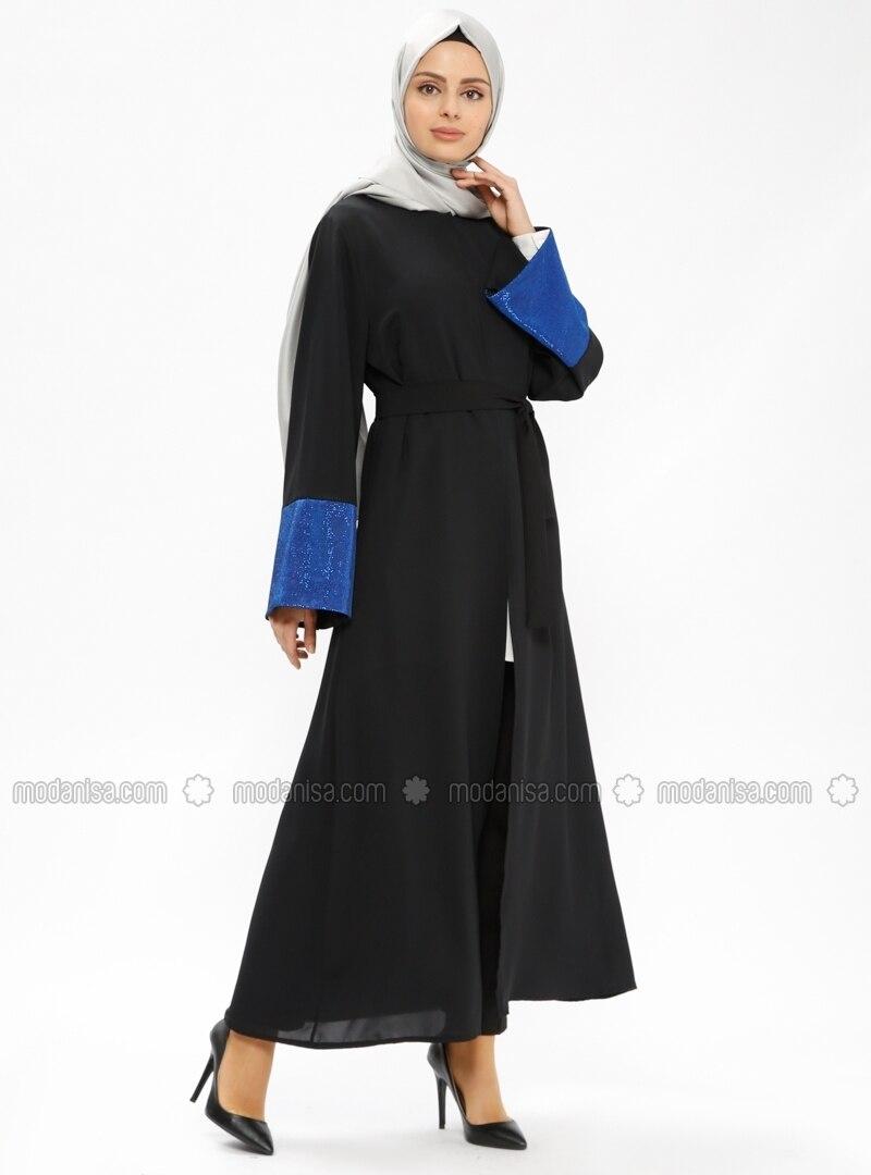 Black - Saxe - Unlined - Abaya