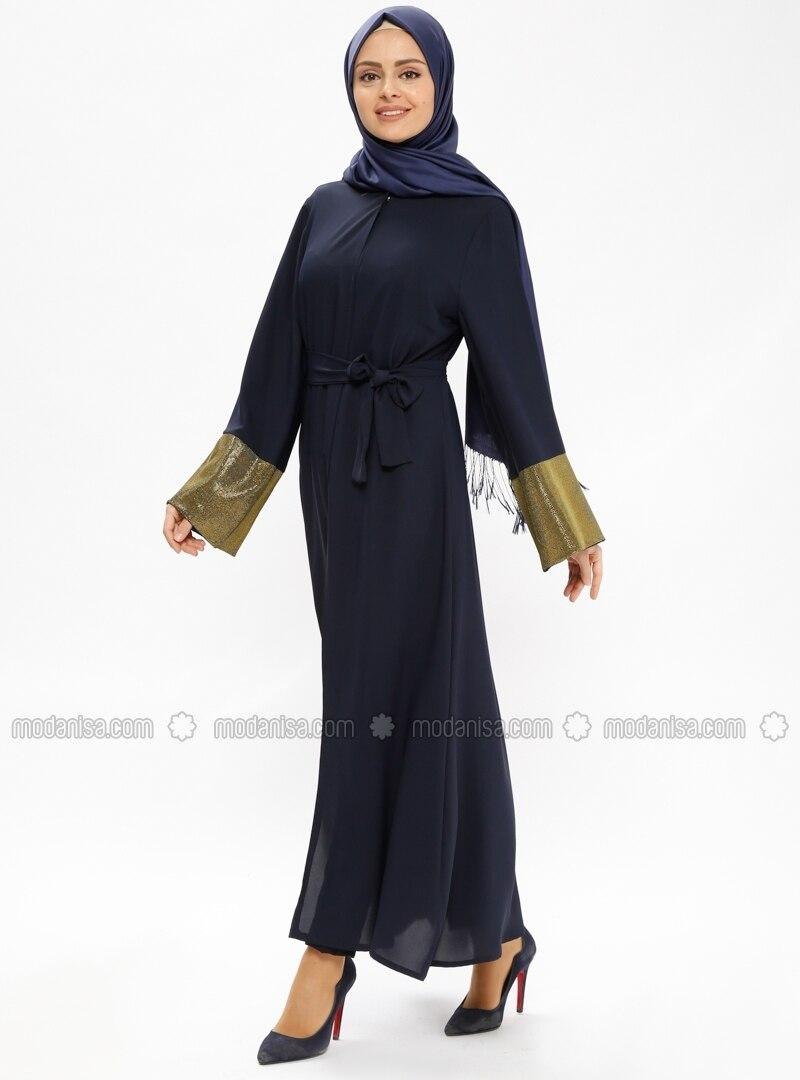 Navy Blue - Golden tone - Unlined - Abaya