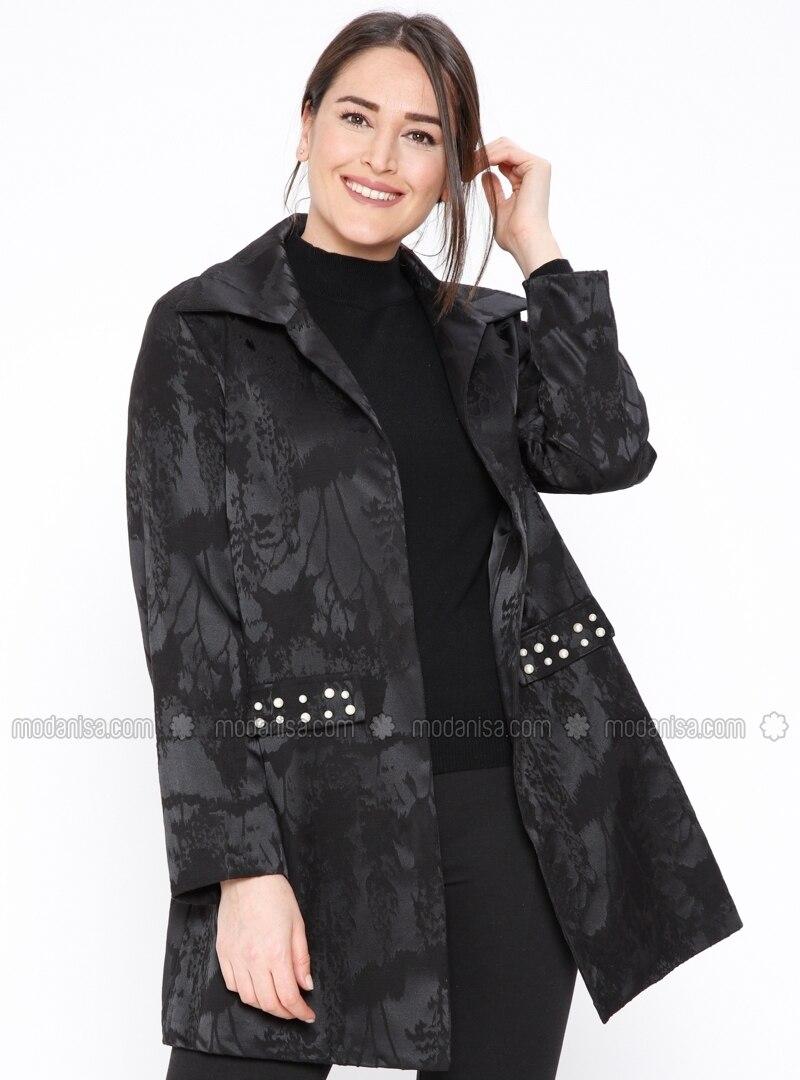 Black - Shawl Collar - Fully Lined - Plus Size Jacket