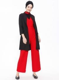 Yakası Güpürlü Kolsuz Tulum - Kırmızı - Fashion Light