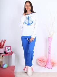 Pijama - Beyaz Mavi - Meliana