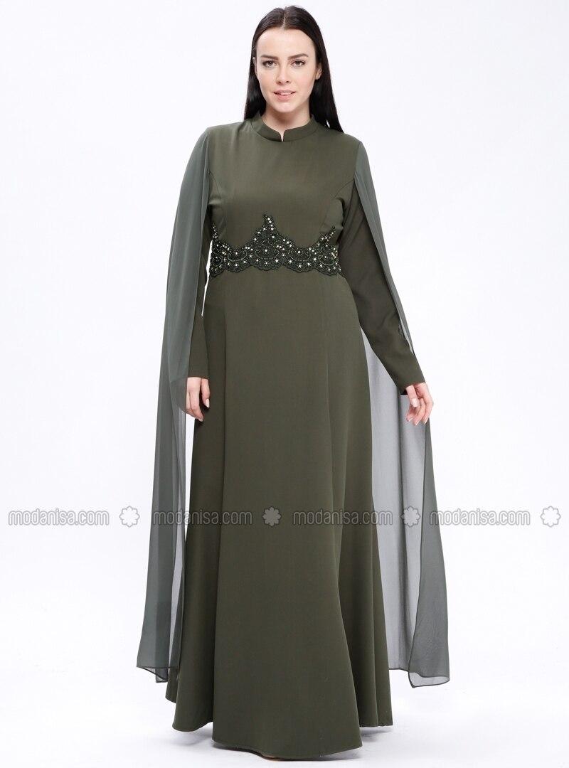 86fc7c30aee Khaki - Fully Lined - Crew neck - Muslim Evening Dress. Fotoğrafı büyütmek  için tıklayın