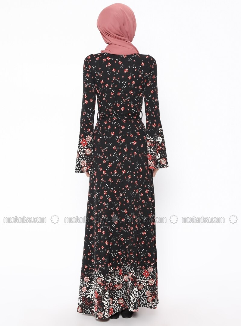 Black - Floral - Multi - Crew neck - Unlined - Dresses eb3e257f3