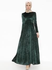 Kadife Elbise - Yeşil - AGONYA MODA
