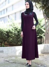 Pul Detaylı Jile Elbise - Mürdüm - Night Blue Collection