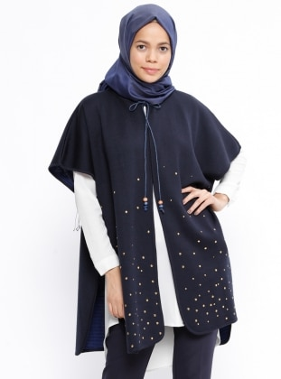 Navy Blue - Unlined - Poncho