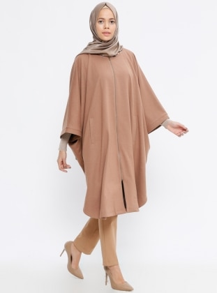 Camel - Crew neck - Fully Lined - Poncho