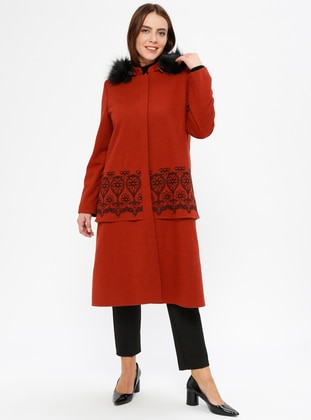 Orange - Tan - Fully Lined - Plus Size Overcoat