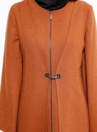 Tan - Fully Lined - Crew neck - Coat