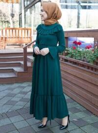 Fırfır Detaylı Elbise - Zümrüt - İnşirah