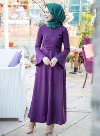 İnci Detaylı Elbise - Mor - İnşirah