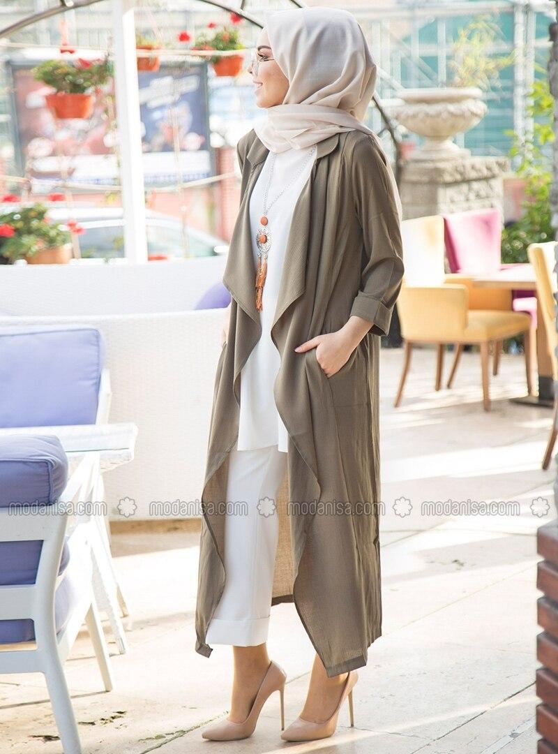 Khaki   Unlined   Shawl Collar   Topcoat by Modanisa